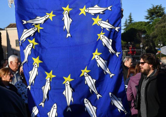 Un manifestant porte un drapeau européen sur lequel il a apposé des sardines.