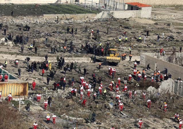Le lieu du crash du Boeing ukrainien en Iran