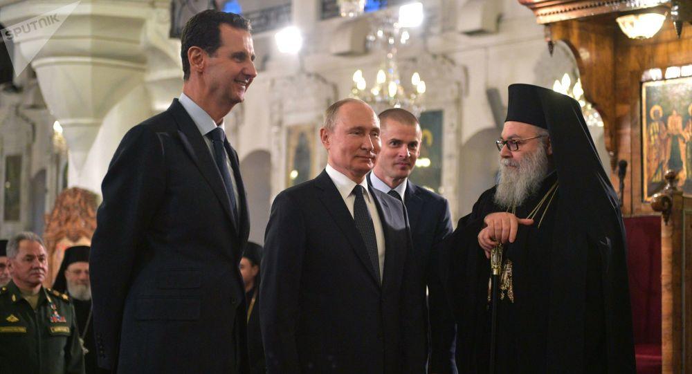 Vladimir Poutine en visite à Damas le 7 janvier 2020