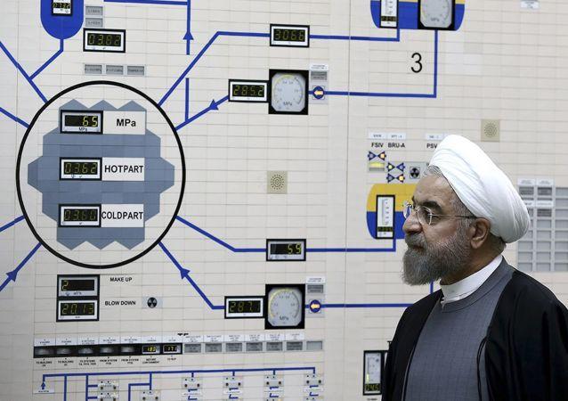 Hassan Rohani lors de sa visite au centrale nucléaire de Bouchehr, le 13 janvier 2015