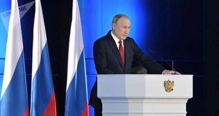 Vladimir Poutine adresse son discours annuel à l'Assemblée fédérale