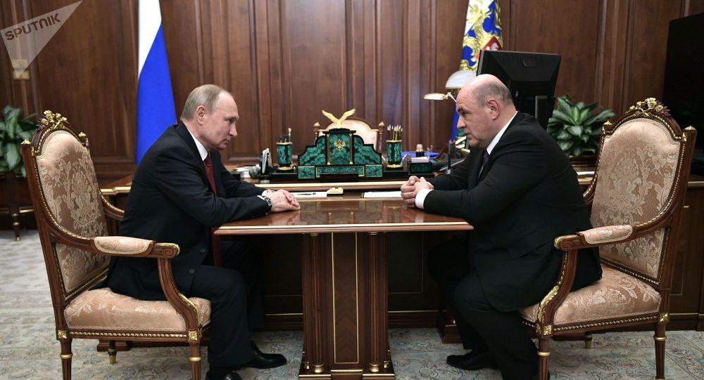 Réunion entre Vladimir Poutine et Mikhaïl Michoustine