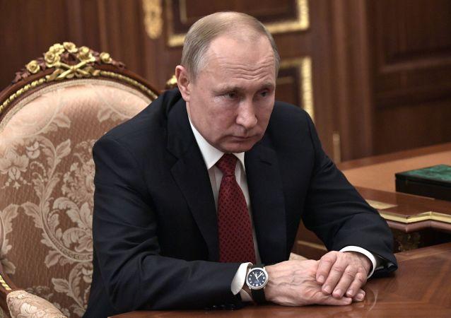 Vladimir Poutine lors d'une rencontre de travail avec Mikhaïl Michoustine, chef du Service fédéral des impôts, le 15 janvier, la veille de sa désignation au poste du Premier ministre