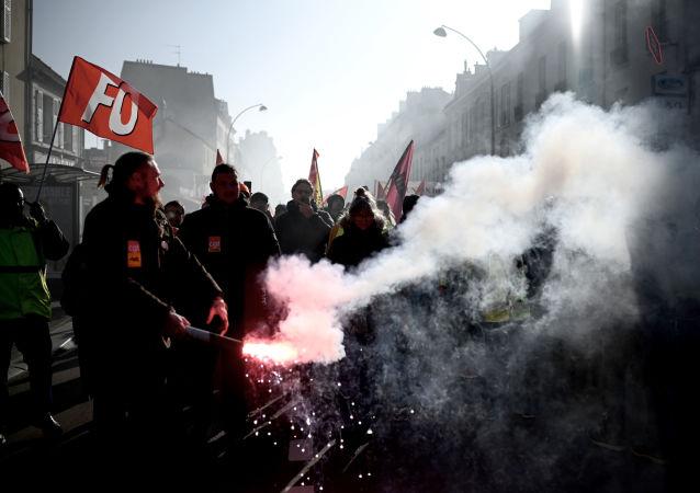 Protestations à Versailles, le 20 janvier 2020