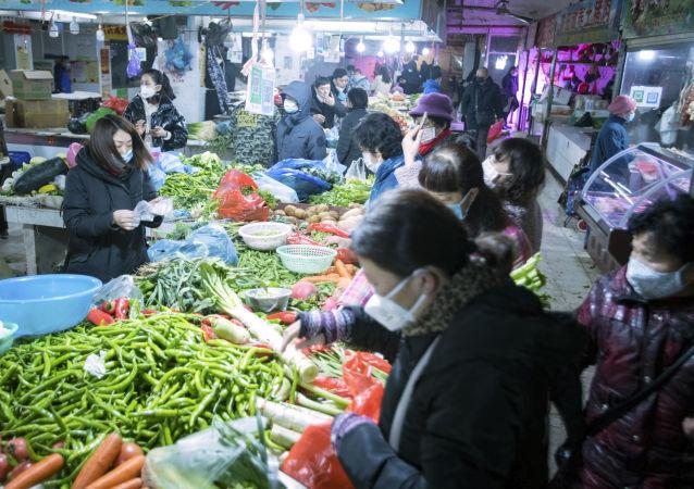 Un marché de Wuhan