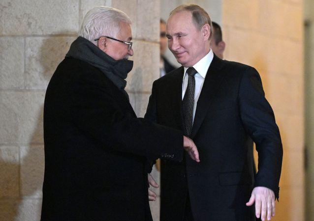 Vladimir Poutine et Mahmoud Abbas à Bethléem