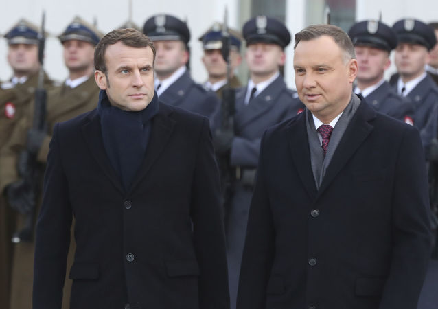 Emmanuel Macron avec le Président polonais Andrzej Duda