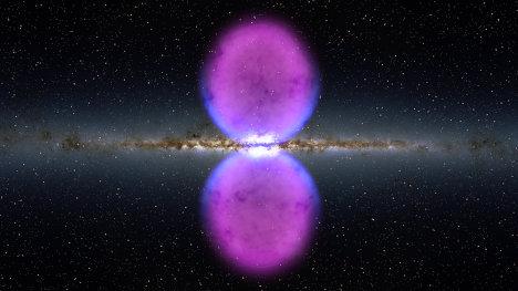 Гигантские пузыри, обнаруженные телескопом Ферми у центра нашей Галактики