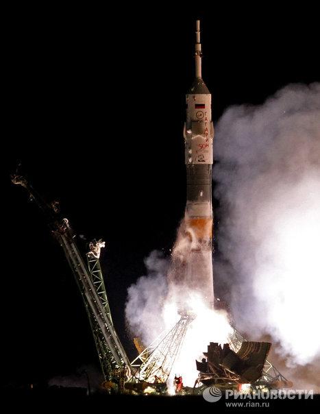 Старт космического корабля Союз ТМА-21 Гагарин