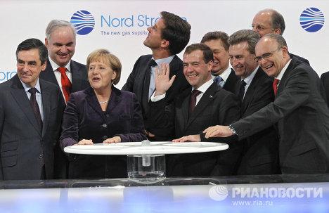 Д.Медведев на церемонии пуска трубопровода Северный поток