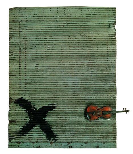 Антони Тапиес. Porta metàl-lica i violí. 1956 год