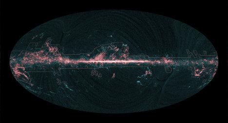 Карта небосвода в спектральной полосе угарного газа, составленная по данным телескопа Планк