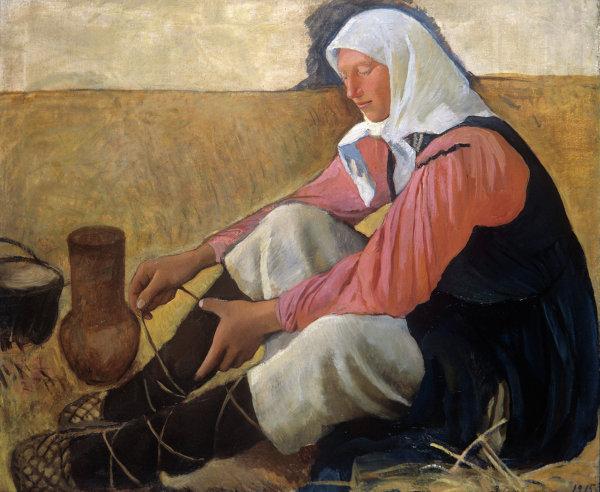 Репродукция картины работы художницы З.Е.Серебряковой Обувающаяся крестьянка