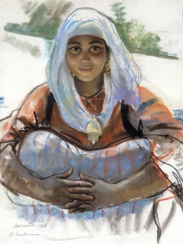 Репродукция картины работы художницы З.Е.Серебряковой Освещенная солнцем