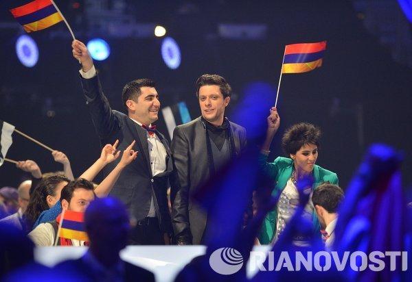 Представитель Армении певец Aram MP3 после выступления в полуфинале 59-го международного конкурса песни Евровидение-2014 в Копенгагене