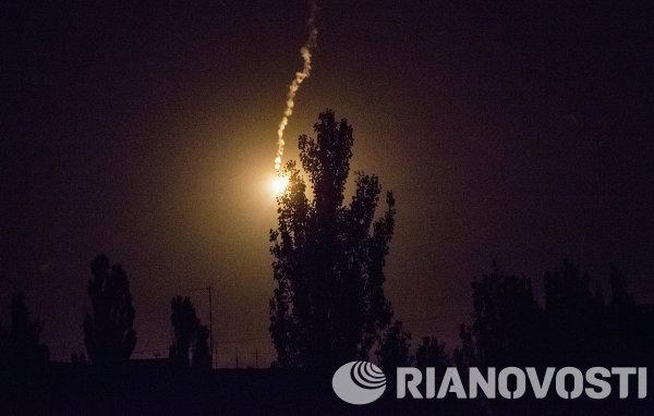 Осветительная ракета над Славянском
